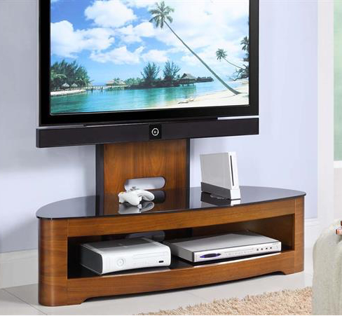Cantilever Tv Stand – Walnut – Keens Furniture In Well Known High Glass Modern Entertainment Tv Stands For Living Room Bedroom (View 1 of 15)