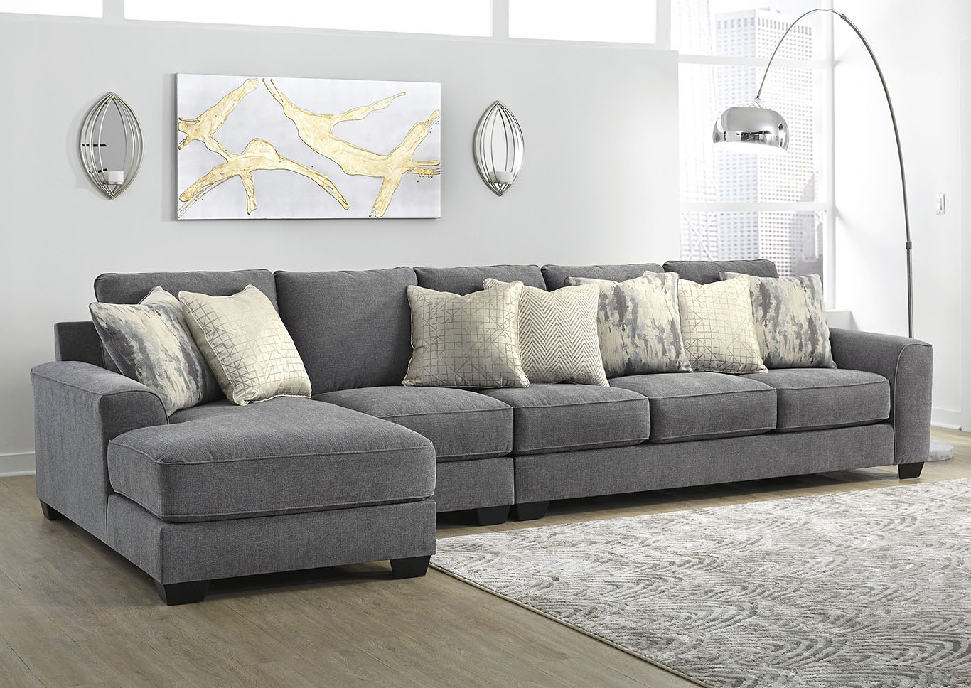 Castano Jewel 3 Piece Laf Chaise Sectional Ashley Throughout Norfolk Grey 3 Piece Sectionals With Laf Chaise (View 13 of 15)