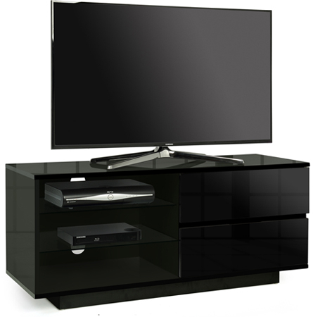 Centurion Gallus Black 2 Black Drawers 3 Shelf 26 55 Tv Intended For Well Known Black Tv Cabinets With Drawers (View 2 of 15)