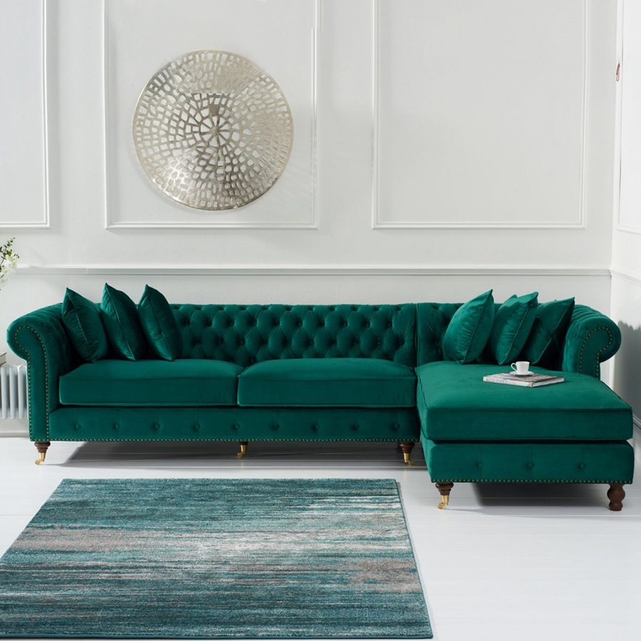 Chelsea Green Velvet Studded Buttoned Chesterfield Right With Green Sectional Sofas (View 11 of 15)