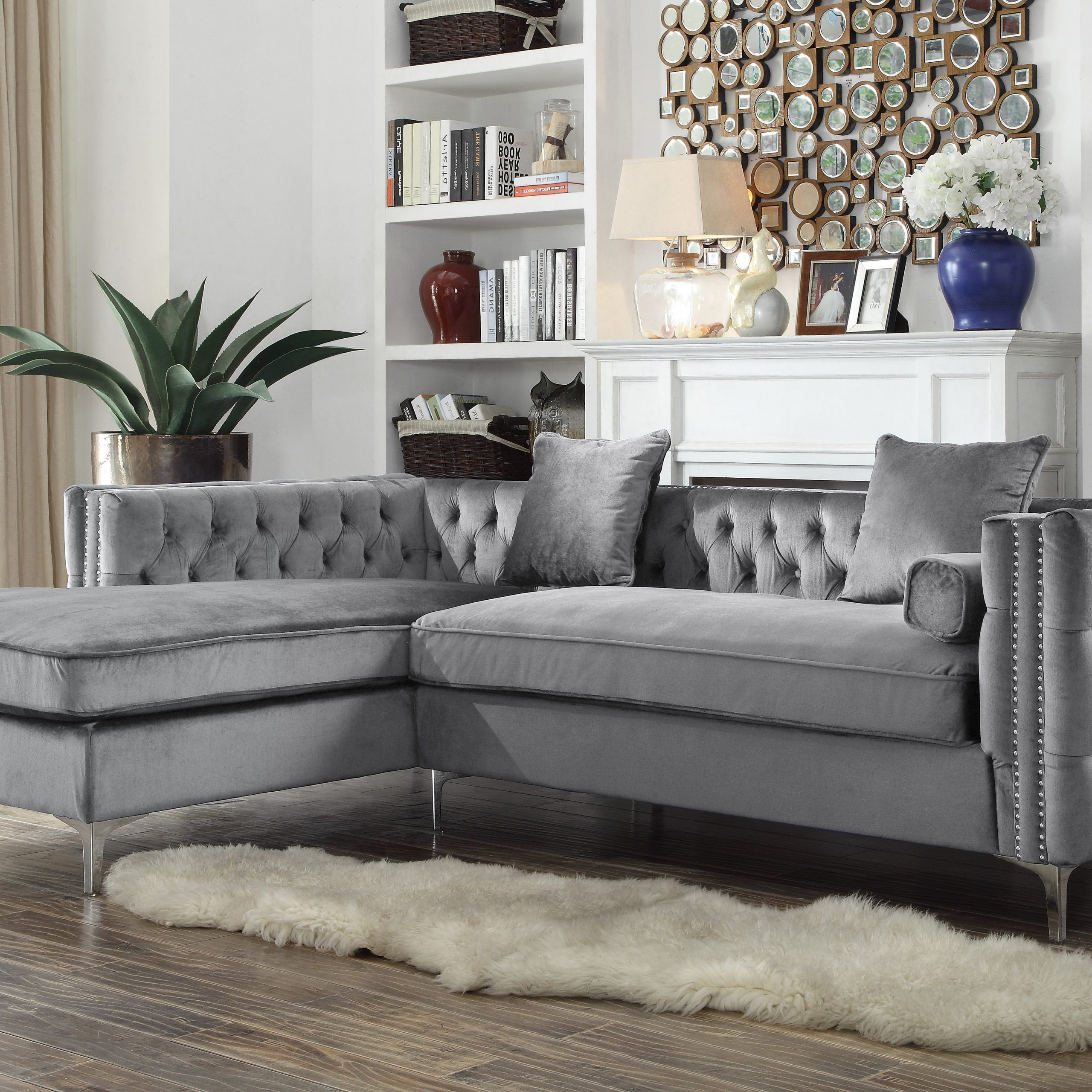 Chic Home Monet Velvet Modern Button Tufted Sectional Sofa Inside Ludovic Contemporary Sofas Light Gray (View 9 of 15)