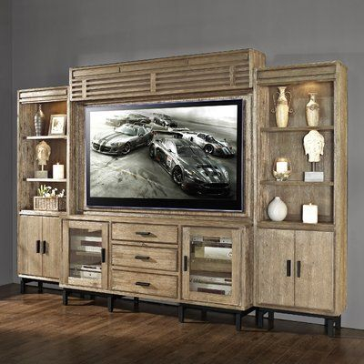 Clermont Solid Wood Entertainment Center For Tvs Up To 70 Regarding Fashionable Entertainment Center Tv Stands Reclaimed Barnwood (View 4 of 15)