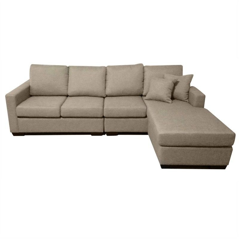 Club Fabric 4 Seater Sofa With Reversible Chaise – Taupe Throughout London Optical Reversible Sofa Chaise Sectionals (View 7 of 15)