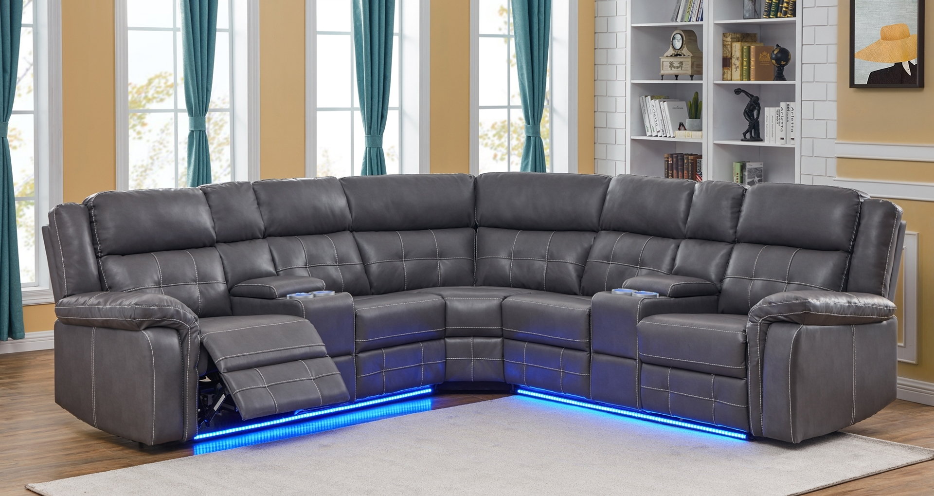 Cobalt Power/Manual Reclining Sectional Sofa With Led Regarding Houston Sectional Sofas (View 2 of 15)
