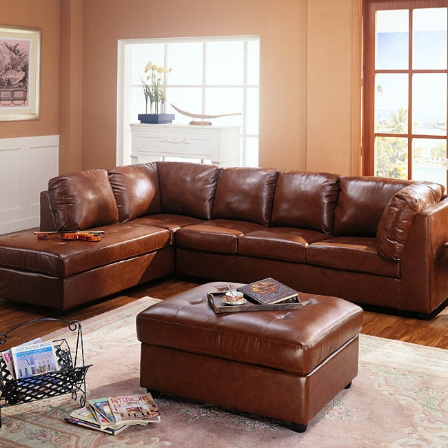 Cognac Sectional Sofa And Storage Ottoman – Free Shipping Throughout Sectional Sofas With Storage (View 9 of 15)