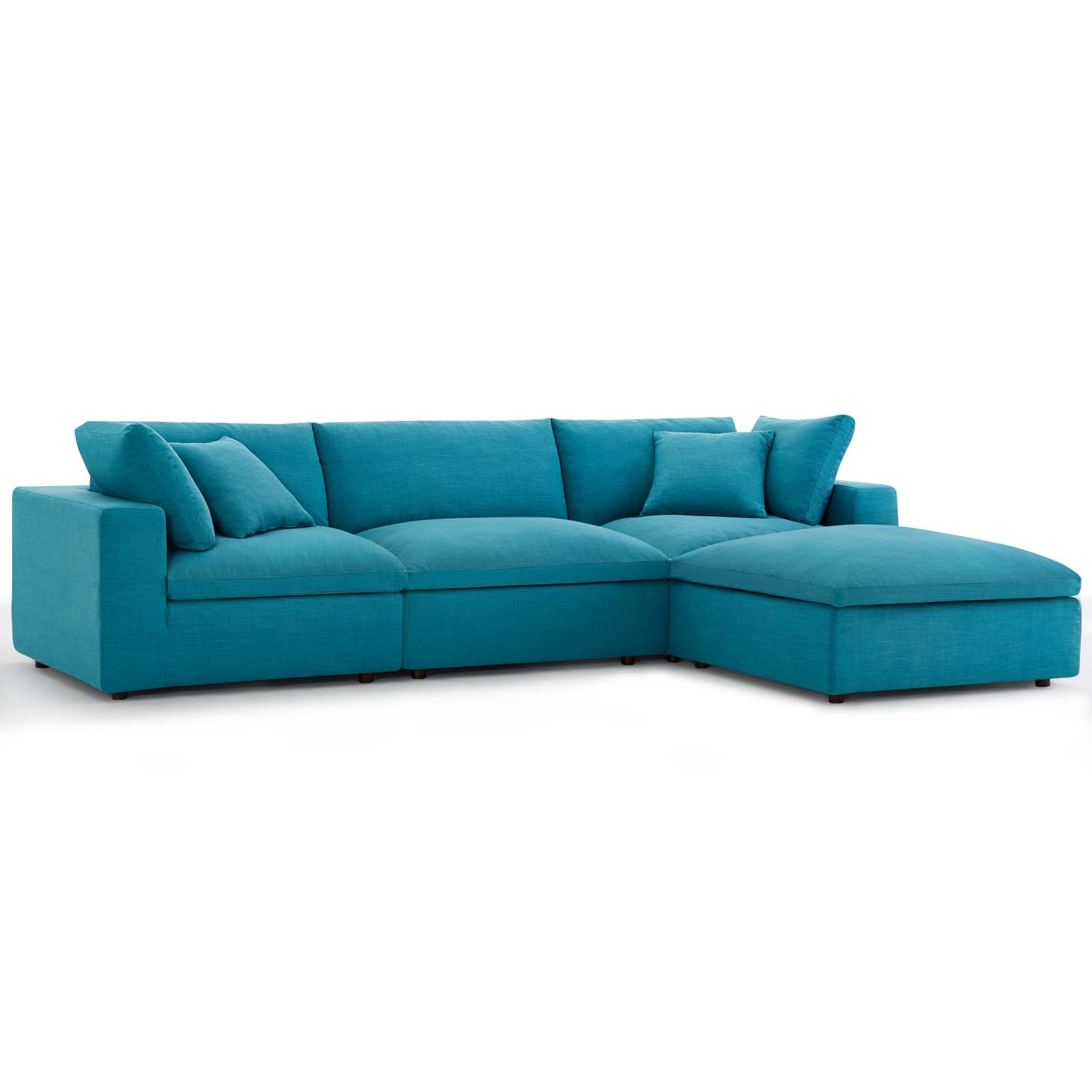 Commix Down Filled Overstuffed 4 Piece Sectional Sofa Set Teal Inside Down Filled Sectional Sofas (View 11 of 15)