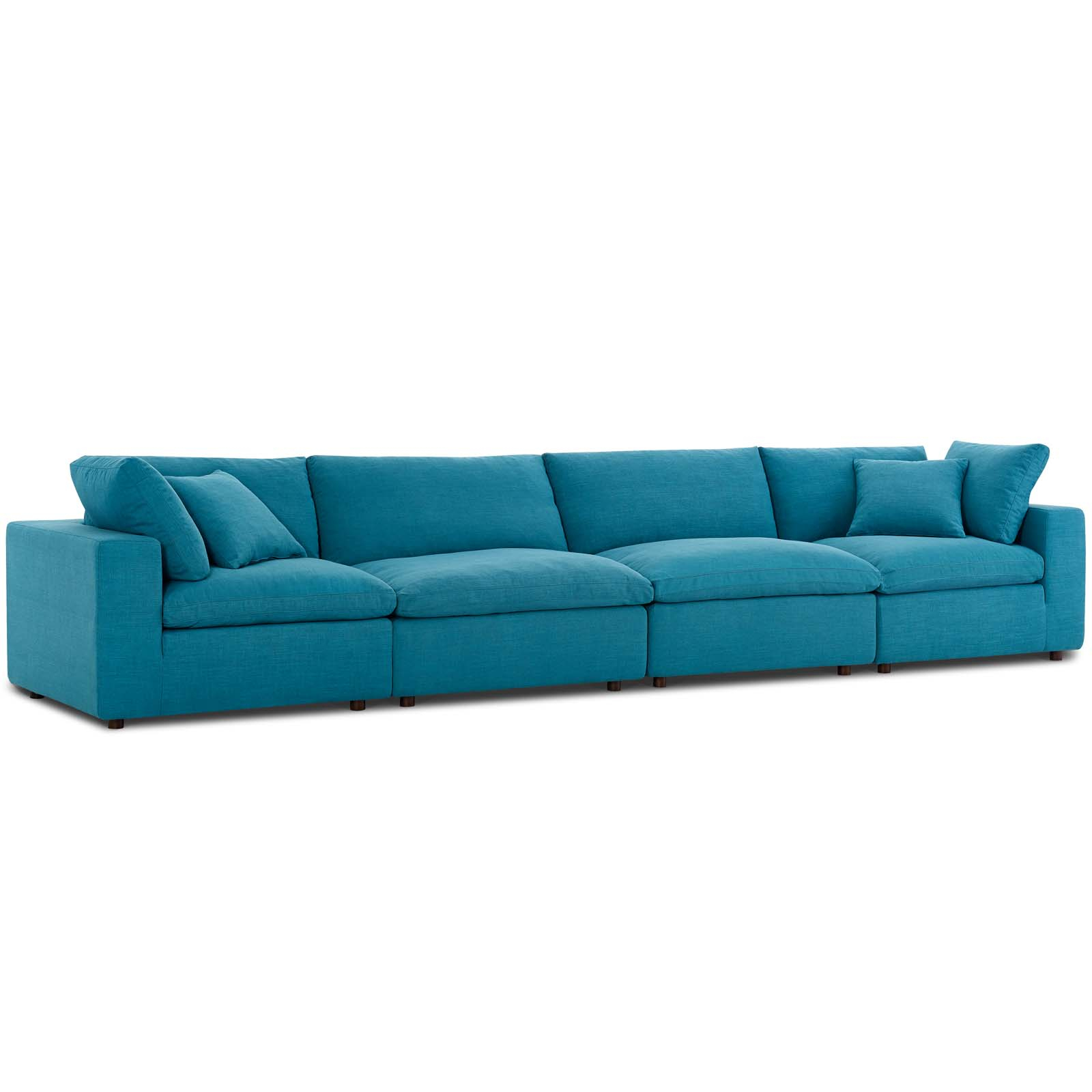 Commix Down Filled Overstuffed 4 Piece Sectional Sofa Set Teal Within Down Filled Sectional Sofas (View 10 of 15)
