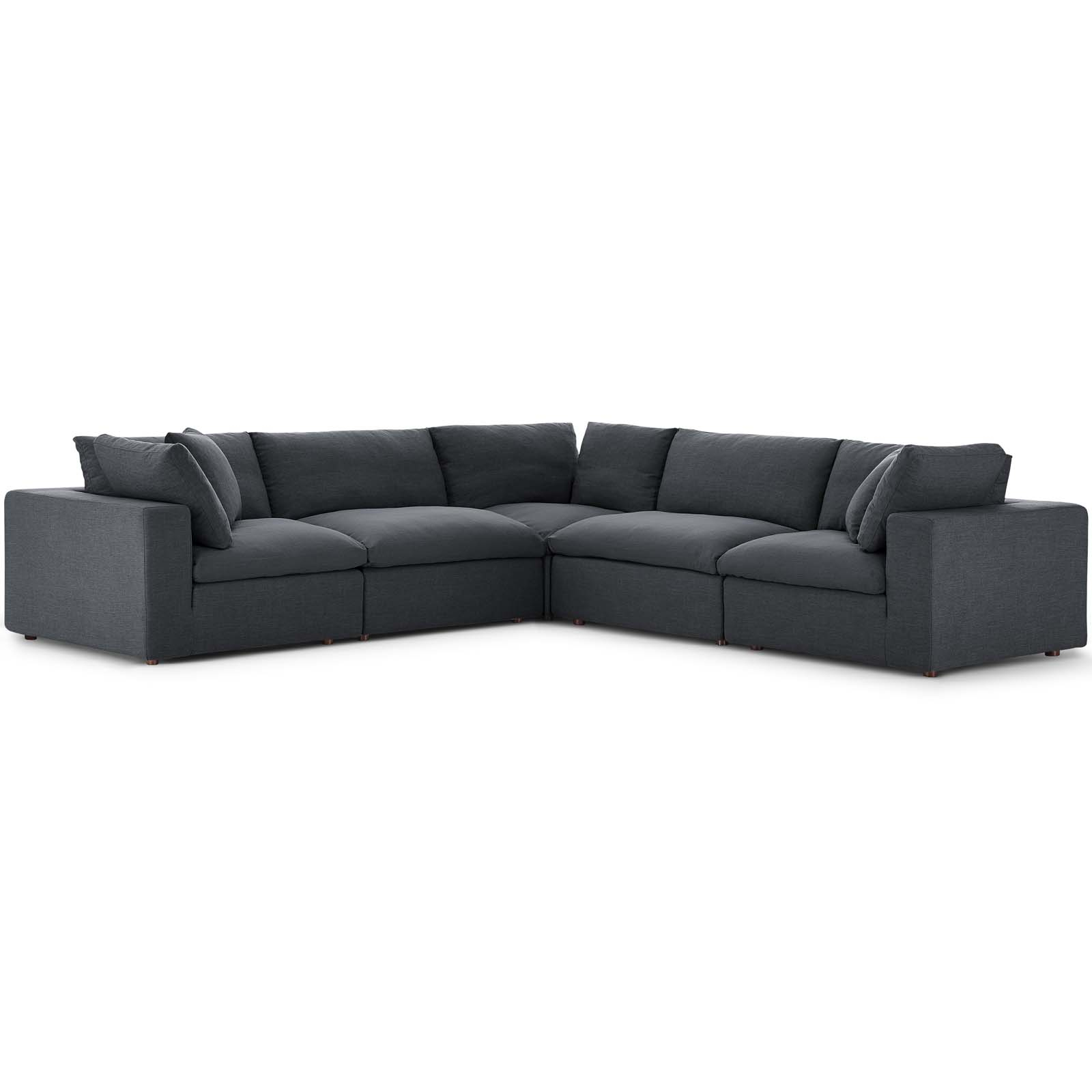 Commix Down Filled Overstuffed 5 Piece Sectional Sofa Set Gray Throughout Down Filled Sectional Sofas (View 7 of 15)
