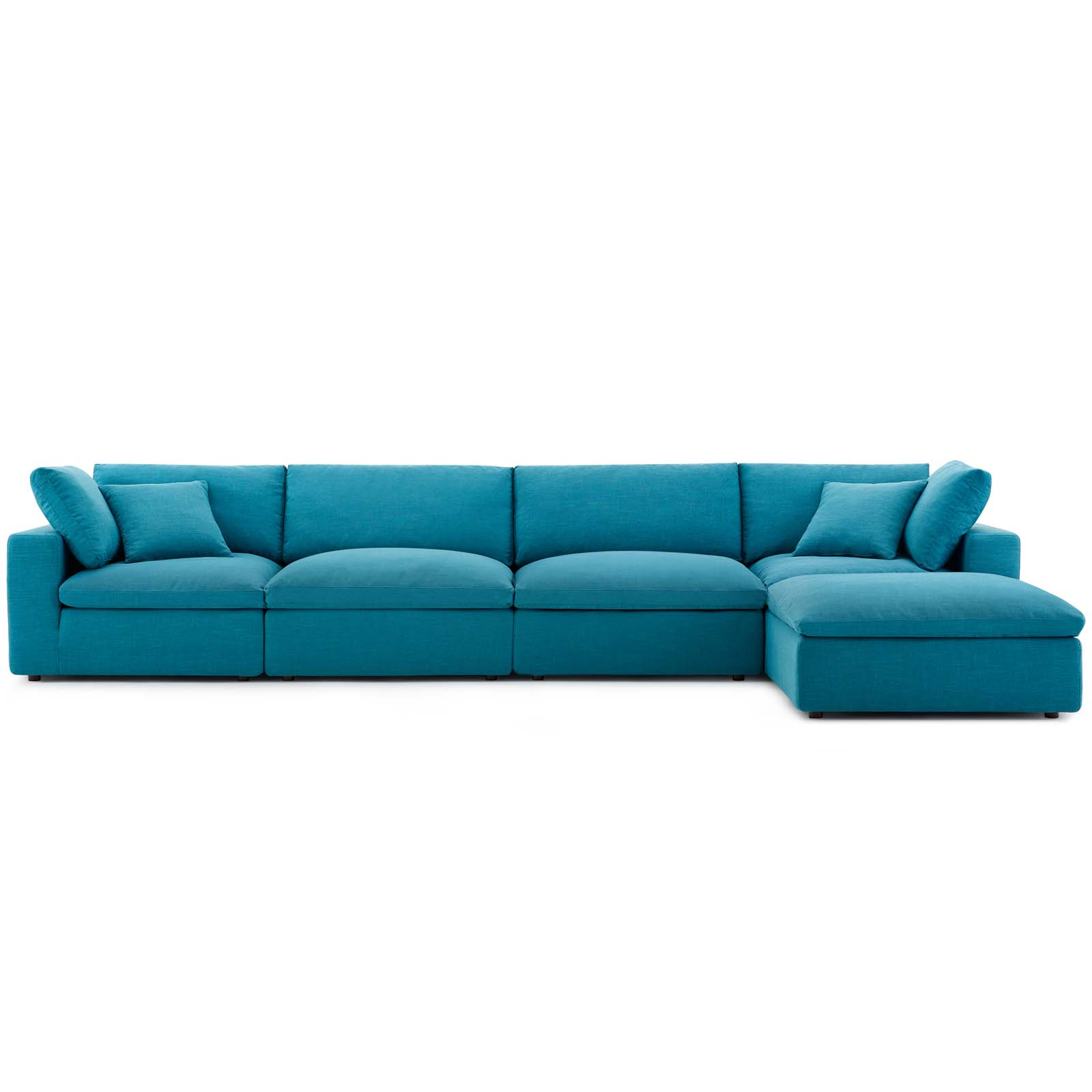 Commix Down Filled Overstuffed 5 Piece Sectional Sofa Set Teal In Down Filled Sofas (View 1 of 15)