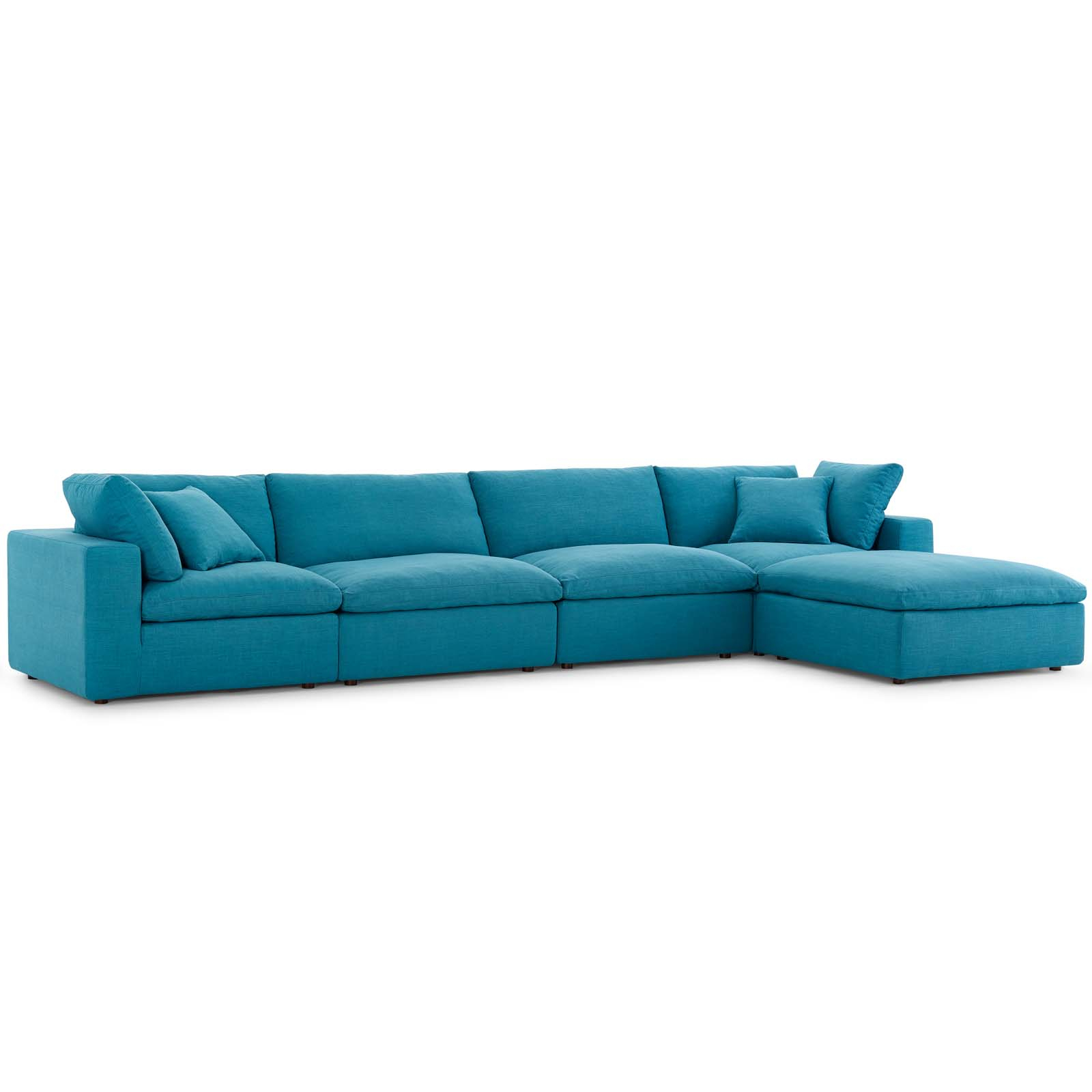 Commix Down Filled Overstuffed 5 Piece Sectional Sofa Set Teal Pertaining To Down Filled Sectional Sofas (View 9 of 15)