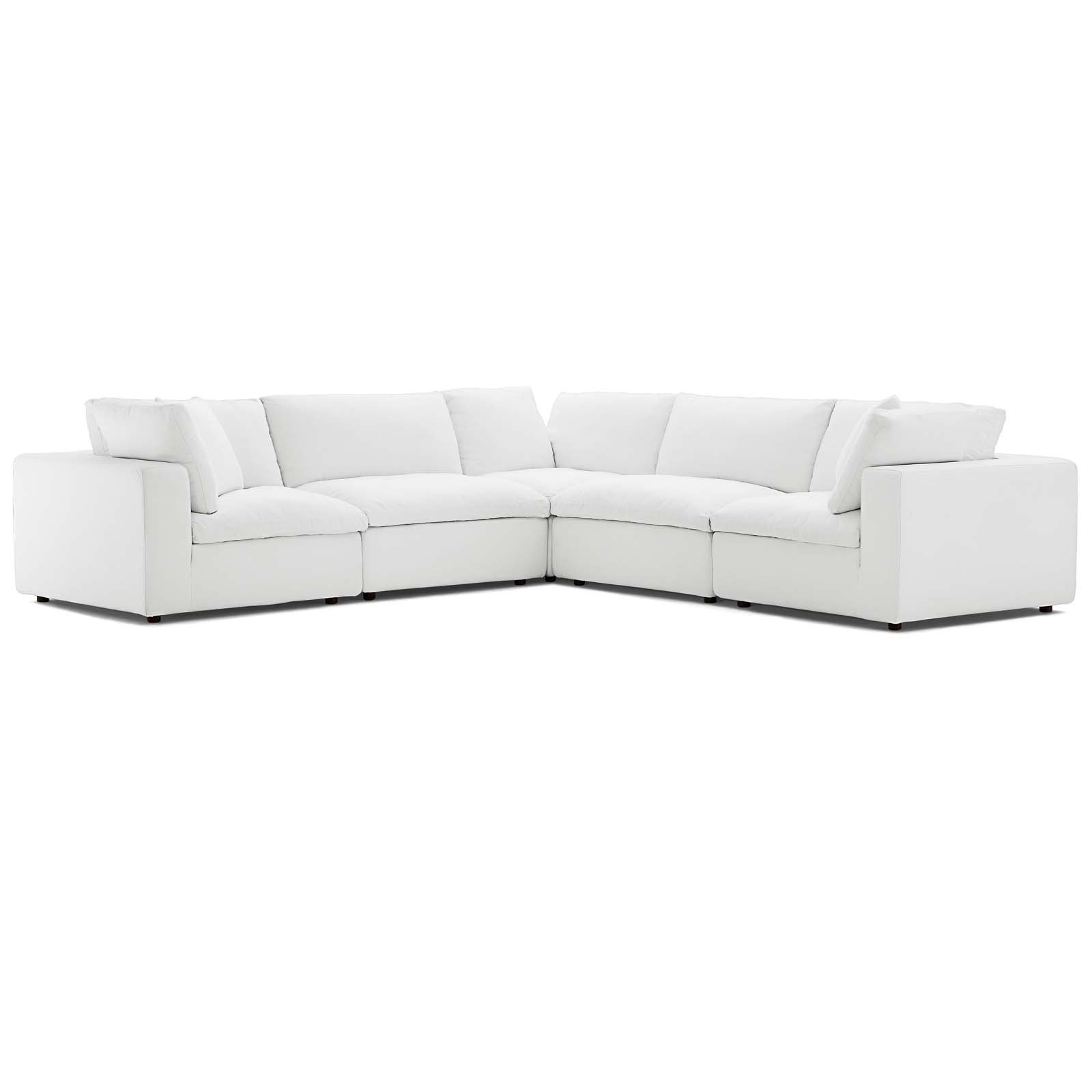 Commix Down Filled Overstuffed 5 Piece Sectional Sofa Set Within Down Filled Sectional Sofas (View 14 of 15)