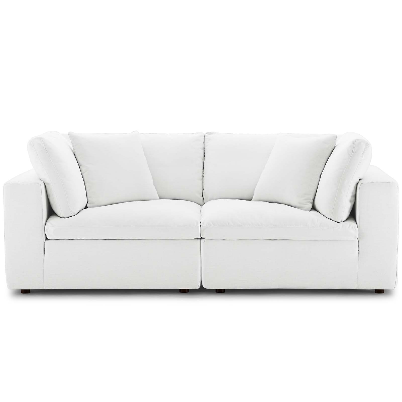 Commix White Down Filled Overstuffed 2 Piece Sectional With Down Filled Sectional Sofas (View 8 of 15)