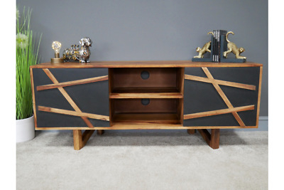 Contemporary Dark Wood Tv Stand, Abstract Tv Cabinet 140Cm With Regard To 2017 Dark Wood Tv Stands (View 9 of 15)