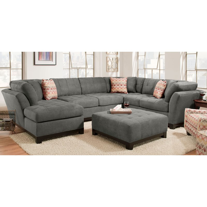 Contemporary Gray 3 Piece Sectional Sofa With Laf Chaise With Norfolk Grey 3 Piece Sectionals With Laf Chaise (View 2 of 15)