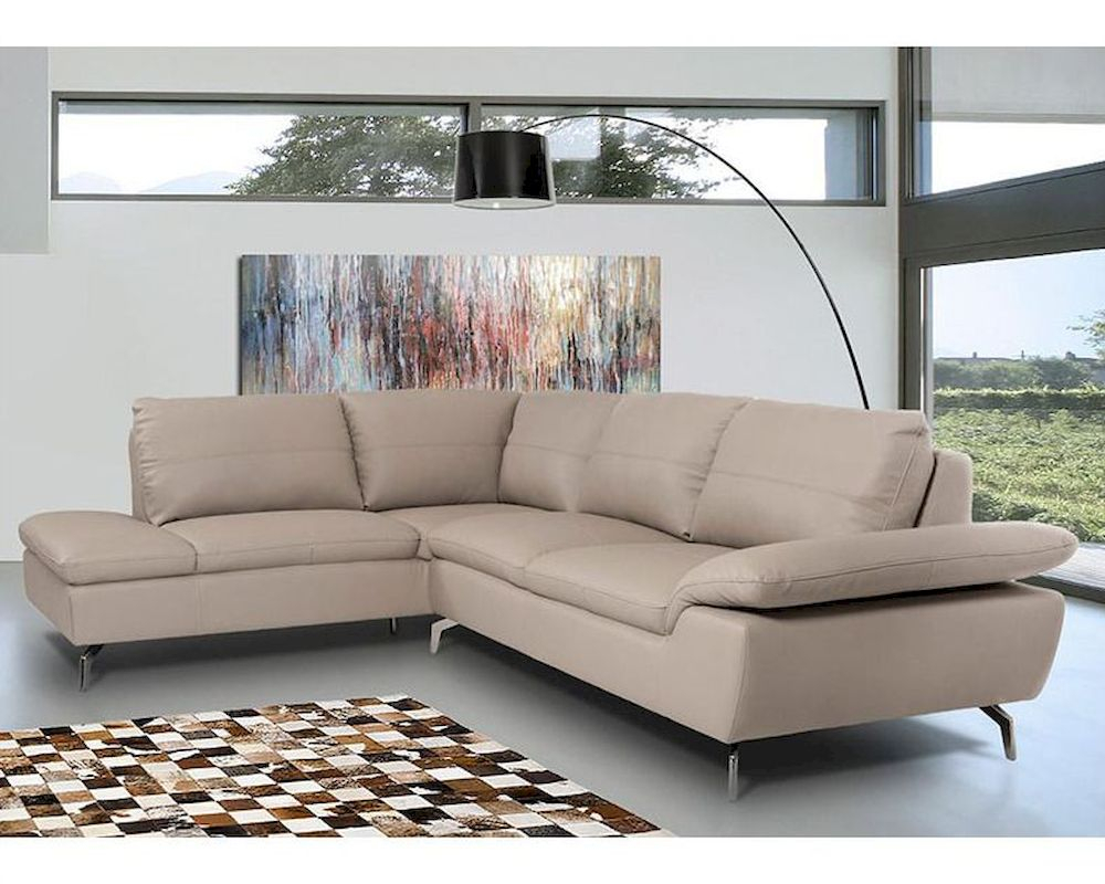 Contemporary Sectional Sofa In Grey Leather 44L5990 Intended For Ludovic Contemporary Sofas Light Gray (View 2 of 15)