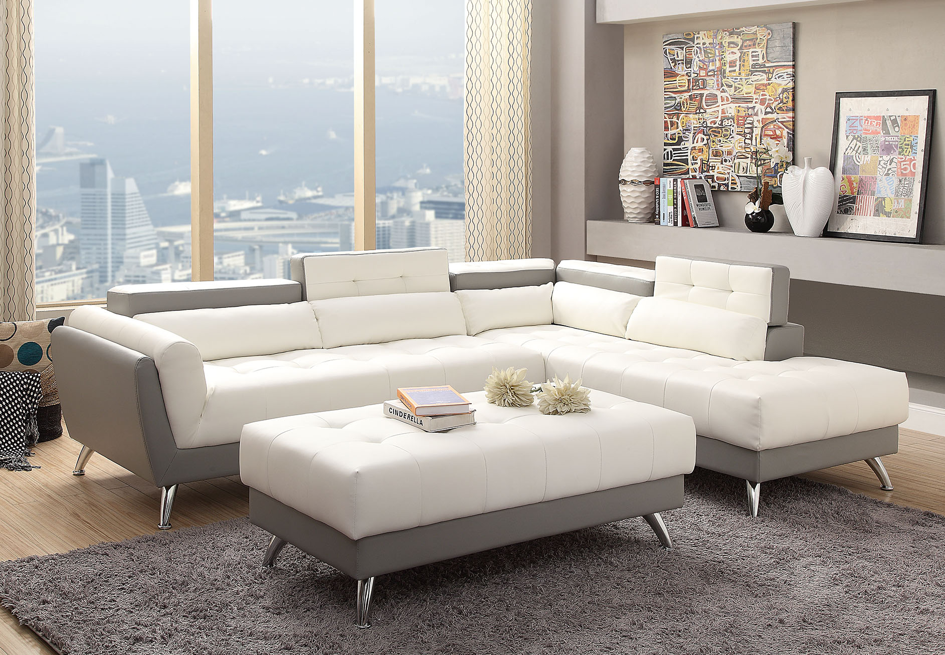 Contemporary Sectional Sofa – Miami Gallery Furniture Intended For Sectional Sofas With Oversized Ottoman (View 13 of 15)