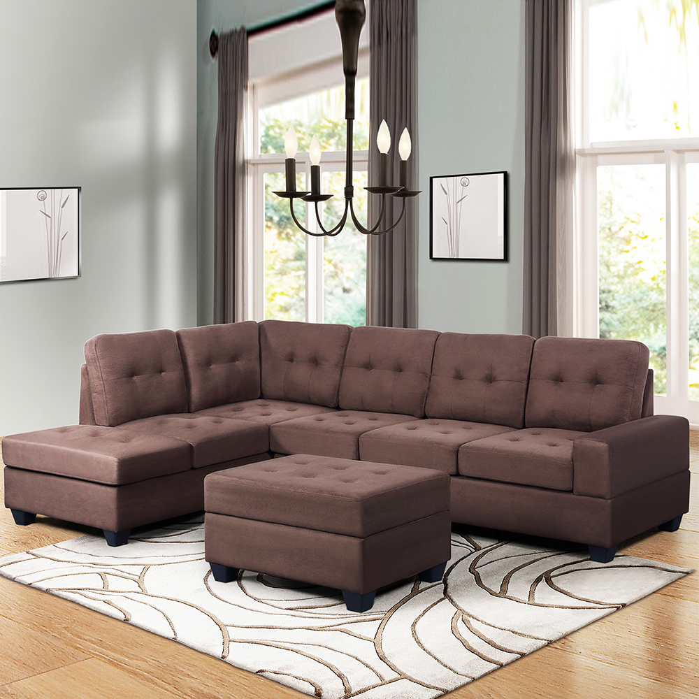 """Convertible Sectional Sofa Couch, 103"""" L Shaped Mid With Verona Mid Century Reversible Sectional Sofas (View 14 of 15)"""