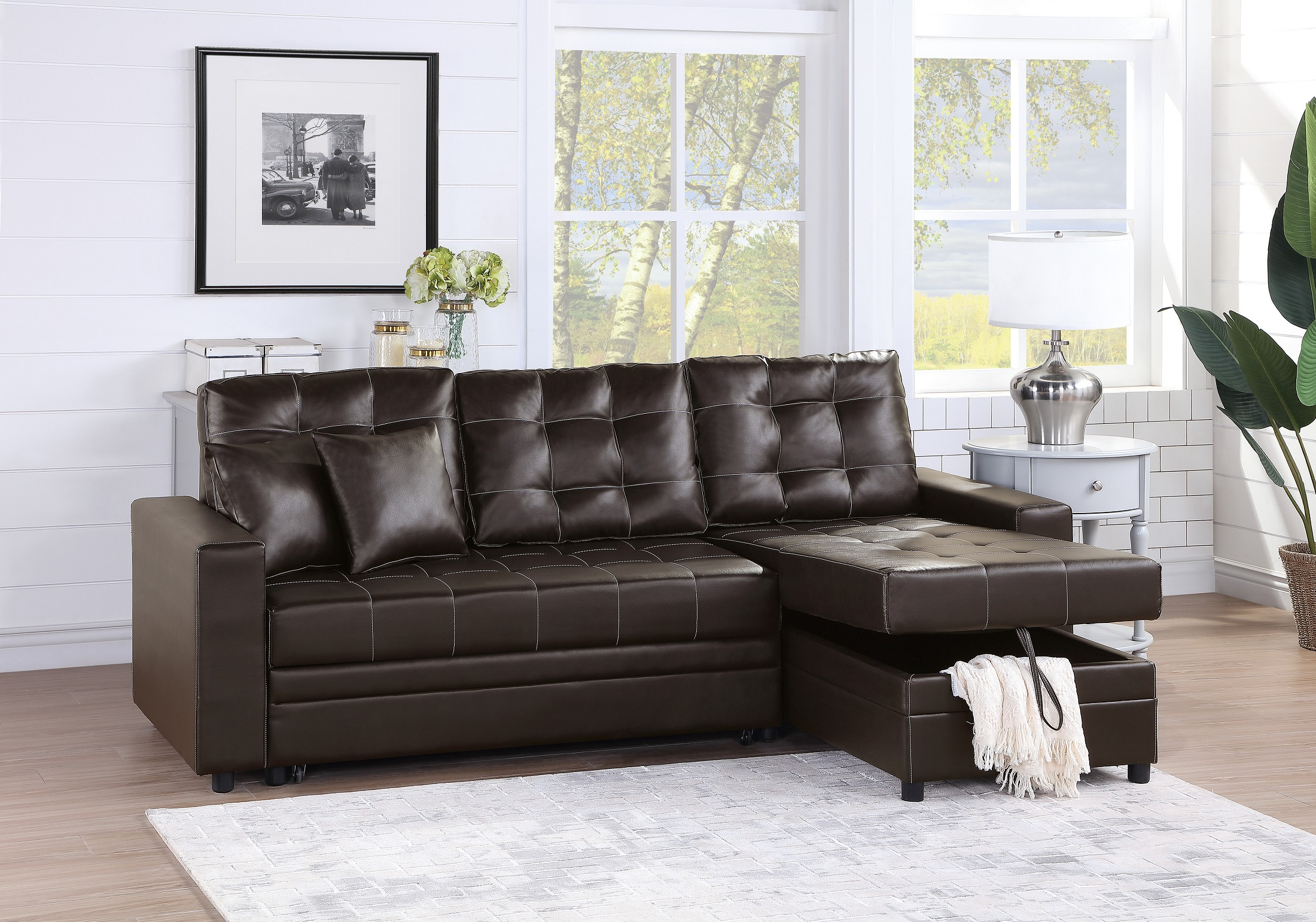 Convertible Sectional Sofa Set Living Room Furniture 2Pc Throughout 4Pc Crowningshield Contemporary Chaise Sectional Sofas (View 1 of 15)