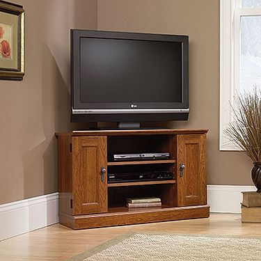 Corner Tv Stand In Planked Cherry (View 1 of 15)