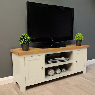 Cotswold Cream Painted Large Oak Tv Unit / Plasma / Solid Regarding Most Recently Released Carbon Extra Wide Tv Unit Stands (View 5 of 15)