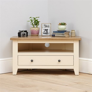Cream Solid Wood Oak, Pine & Painted Tv Stands & Tv Units With Regard To Fashionable Sherbourne Oak Corner Tv Stands (View 7 of 14)