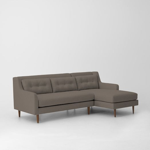 Crosby Mid Century 2 Piece Chaise Sectional | Sectional With Dulce Mid Century Chaise Sofas Dark Blue (View 9 of 15)