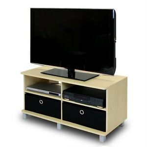 Current Black Tv Cabinets With Drawers Regarding Tv Entertainment Center Stand Storage W 2 Bin Drawers (View 6 of 15)