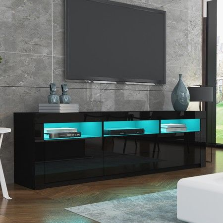 Current High Gloss Tv Cabinets Within 200Cm Modern Wooden Tv Unit Side Cabinet Rgb Led High (View 3 of 15)