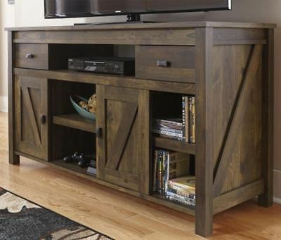 Current Rustic Country Tv Stands In Weathered Pine Finish Intended For Rustic Tv Stand Smart 4K Entertainment Center Farmhouse  (View 4 of 15)