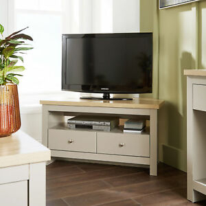 Current Single Shelf Tv Stands With Regard To Grey Oak Corner Tv Stand Two Tone 2 Drawer Cabinet (View 7 of 15)