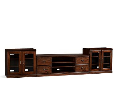 Current Tv Cabinets With Glass Doors With Regard To Printer'S Large Tv Stand Suite With Glass Doors, Tuscan (View 8 of 15)