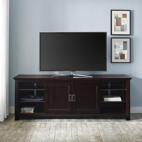 Current Tv Stands With Led Lights In Multiple Finishes Inside Manor Park Traditional Wood Tv Stand With Glass Doors For (View 2 of 15)
