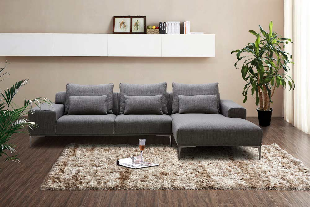 Dark Grey Fabric Sectional Sofa Nj Christopher   Fabric Throughout Ludovic Contemporary Sofas Light Gray (View 12 of 15)