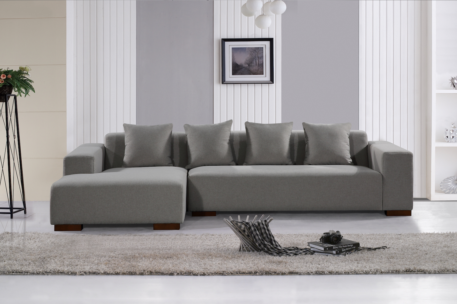 Deep Seating Sectional Sofa – Light Grey Fabric For Noa Sectional Sofas With Ottoman Gray (View 12 of 15)