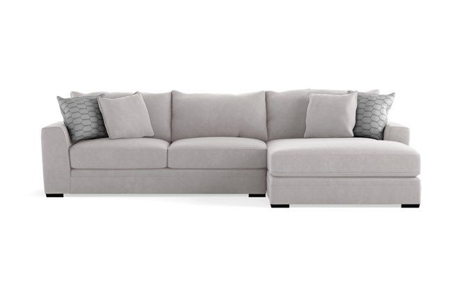 """Delano Charcoal 2 Piece 136"""" Sectional With Right Arm Throughout Delano 2 Piece Sectionals With Laf Oversized Chaise (View 11 of 15)"""