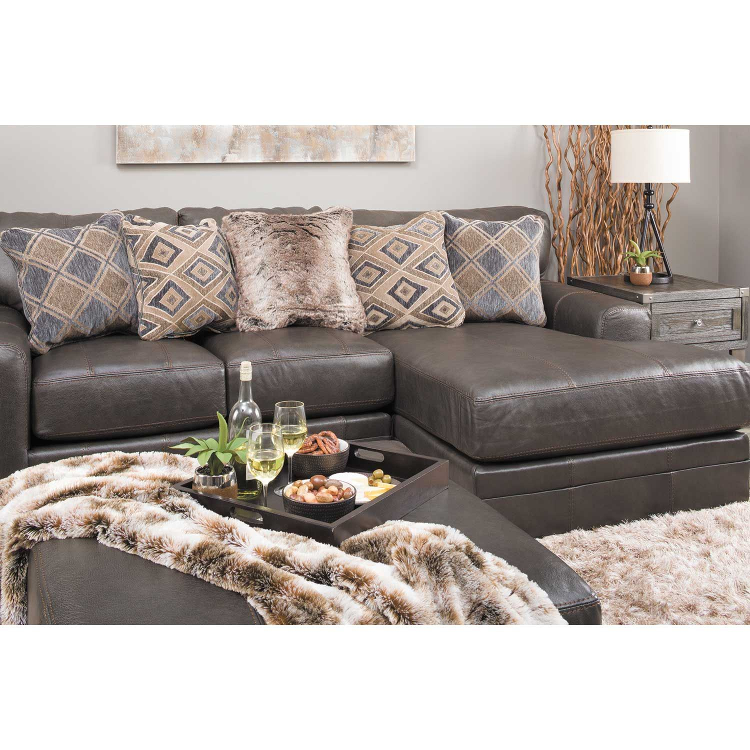 Denali 2 Piece Italian Leather Sectional With Laf Chaise In Avery 2 Piece Sectionals With Laf Armless Chaise (View 12 of 15)