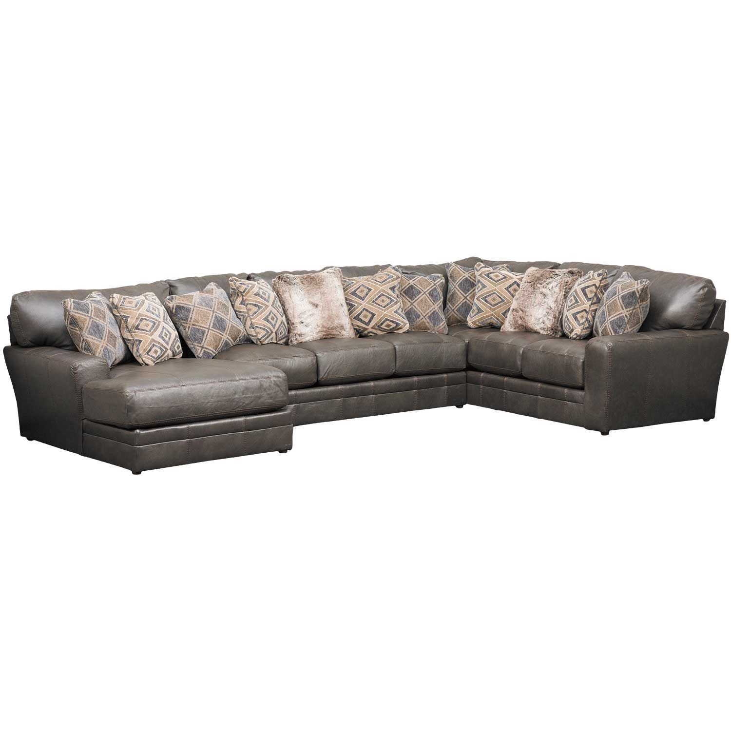 Denali 3 Piece Italian Leather Sectional With Laf Chaise Intended For Norfolk Grey 3 Piece Sectionals With Laf Chaise (View 4 of 15)