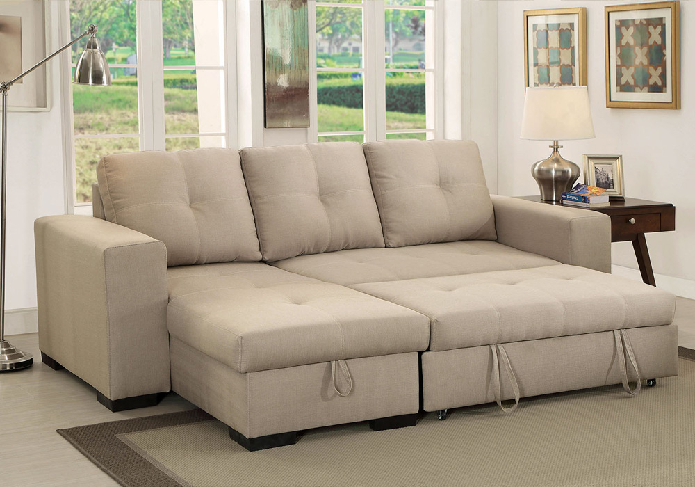 Denton Comfort Sectional Pull Out Sleeper Futon Reversible Inside Hartford Storage Sectional Futon Sofas (View 15 of 15)
