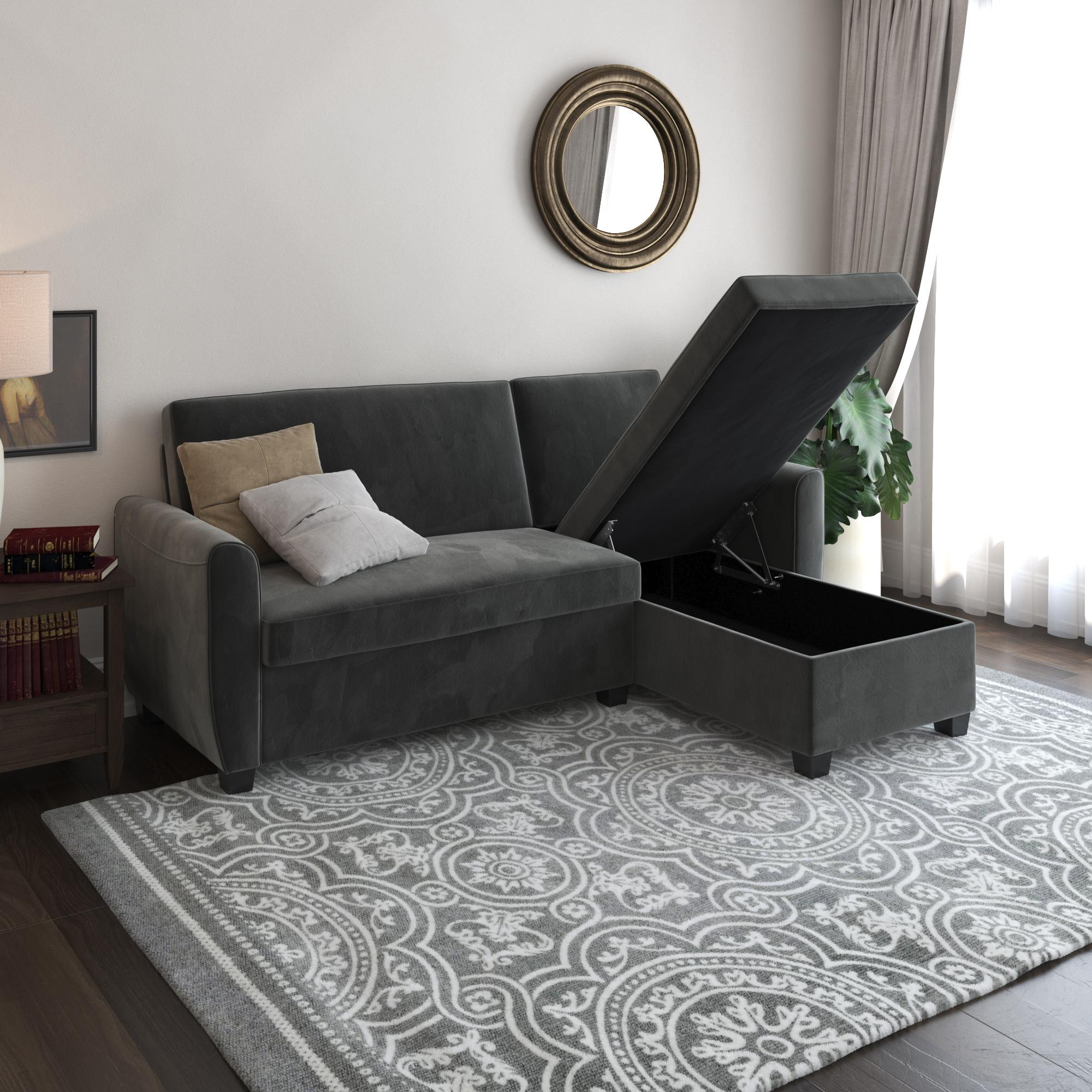 Dhp Noah Sectional Sofa Bed With Storage, Twin Bed Frame Regarding Hartford Storage Sectional Futon Sofas (View 14 of 15)