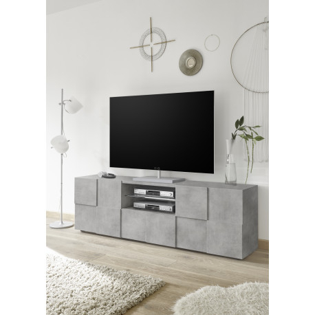 Diana 181Cm Concrete Imitation Tv Unit With Led Lights With Regard To Current Milano White Tv Stands With Led Lights (View 4 of 15)