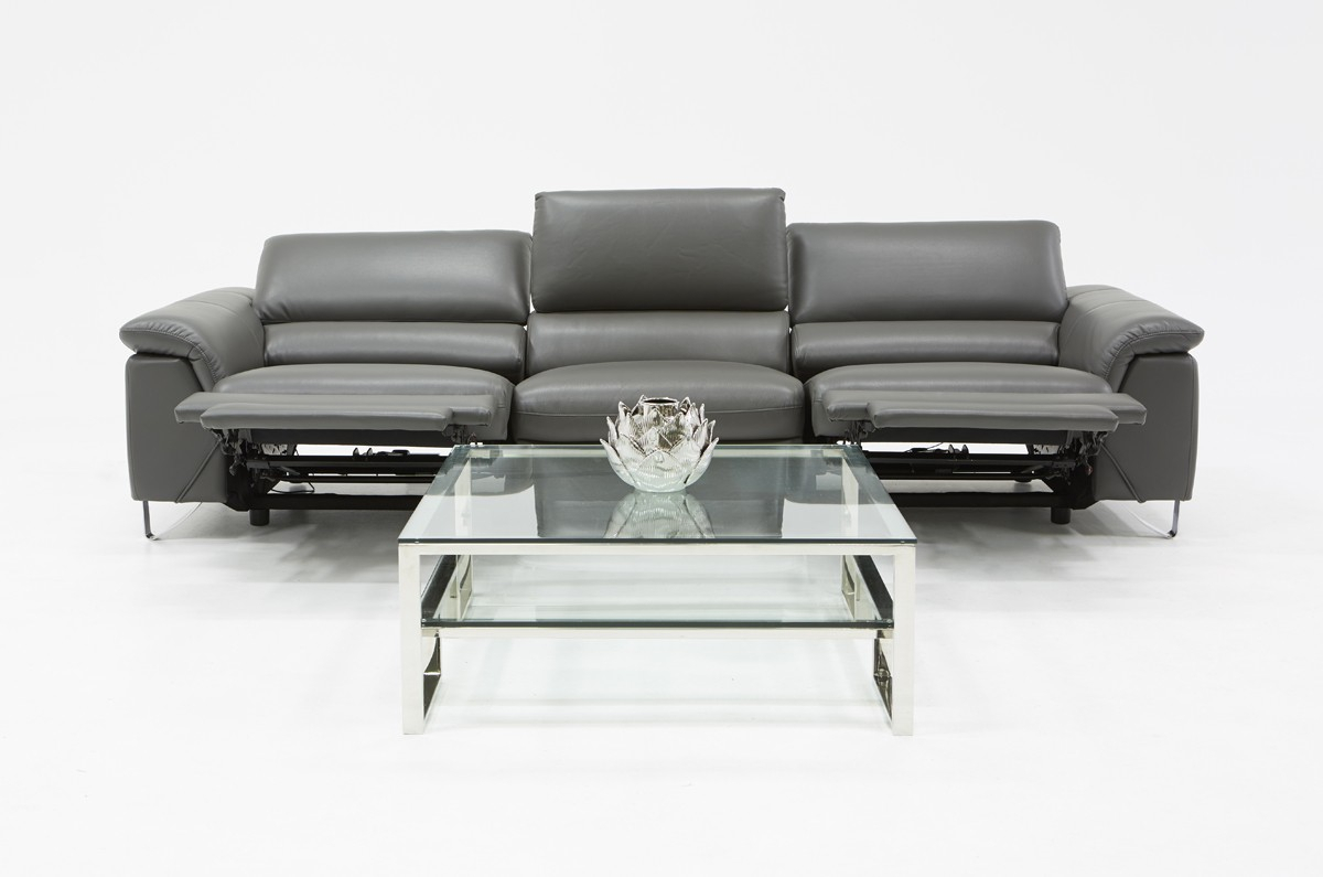 Divani Casa Maine Modern Grey Eco Leather Sofa W/ Electric Pertaining To Ludovic Contemporary Sofas Light Gray (View 8 of 15)
