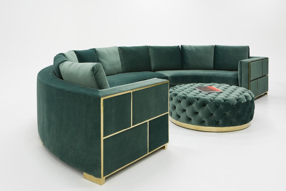 Divani Casa Ritner Modern Green Velvet Circular Sectional Intended For Green Sectional Sofas (View 13 of 15)