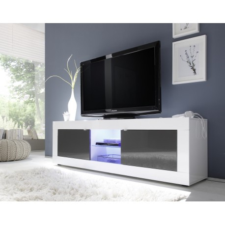 Dolcevita Ii White And Grey Gloss Tv Stand – Tv Stands Throughout Best And Newest White High Gloss Tv Stands (View 11 of 15)