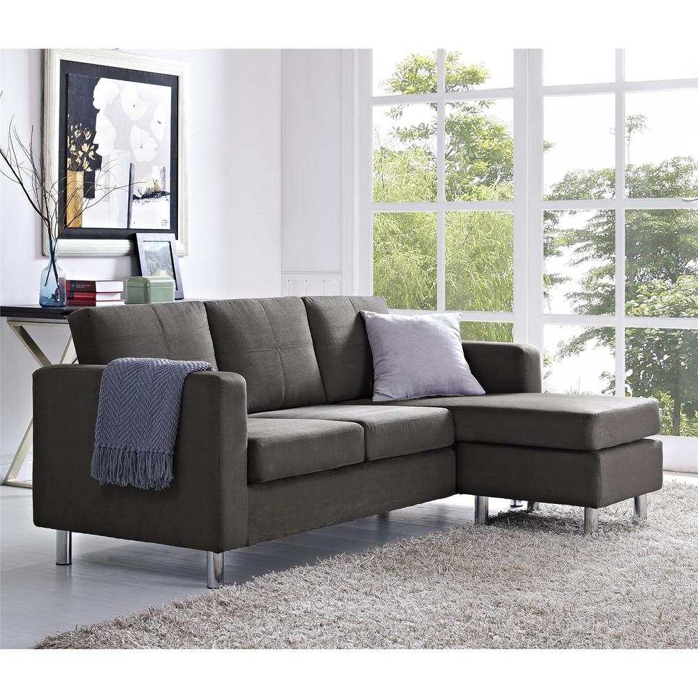 Dorel Small Spaces 2 Piece Configurable Gray Sectional Regarding Palisades Reversible Small Space Sectional Sofas With Storage (View 2 of 15)