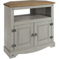 Dunelm 5054077927222 Lucy Cane Grey Corner Tv Stand Slate Within Fashionable Compton Ivory Corner Tv Stands (View 11 of 15)