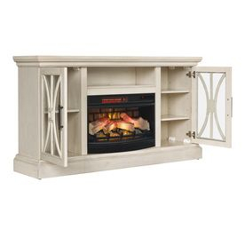 Duraflame 62 In W Weathered White Infrared Quartz Electric In Fashionable Fireplace Media Console Tv Stands With Weathered Finish (View 6 of 15)