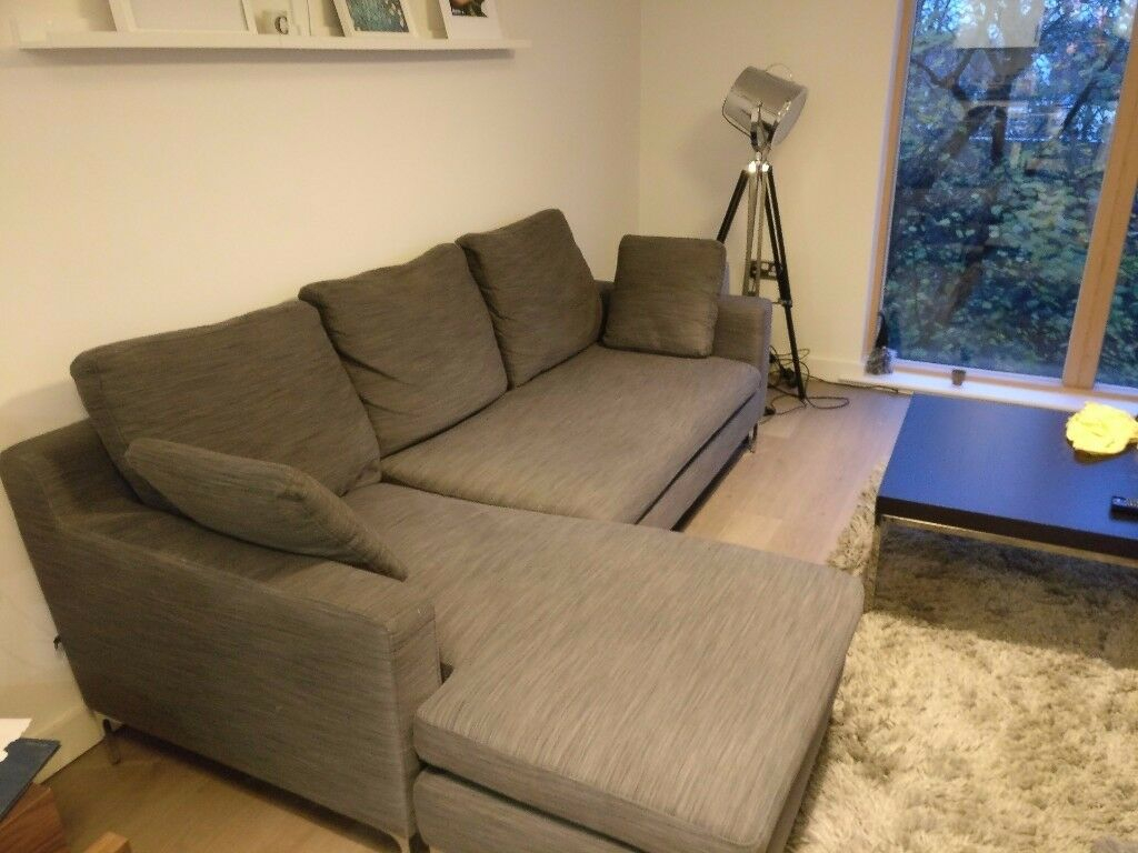 Dwell Oslo Reversible Corner Sofa – Grey Fabric – Great With Regard To London Optical Reversible Sofa Chaise Sectionals (View 13 of 15)