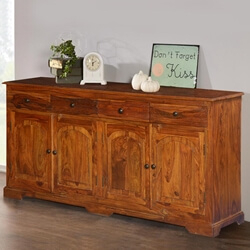 Early American Solid Wood 4 Drawer Large Sideboard Intended For Favorite French Country Tv Stands (View 3 of 15)