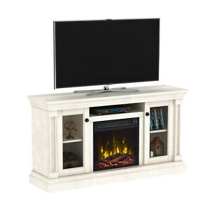 Electric Fireplace Media Center White Oak Tv Stand Wood With Regard To 2017 Fireplace Media Console Tv Stands With Weathered Finish (View 5 of 15)