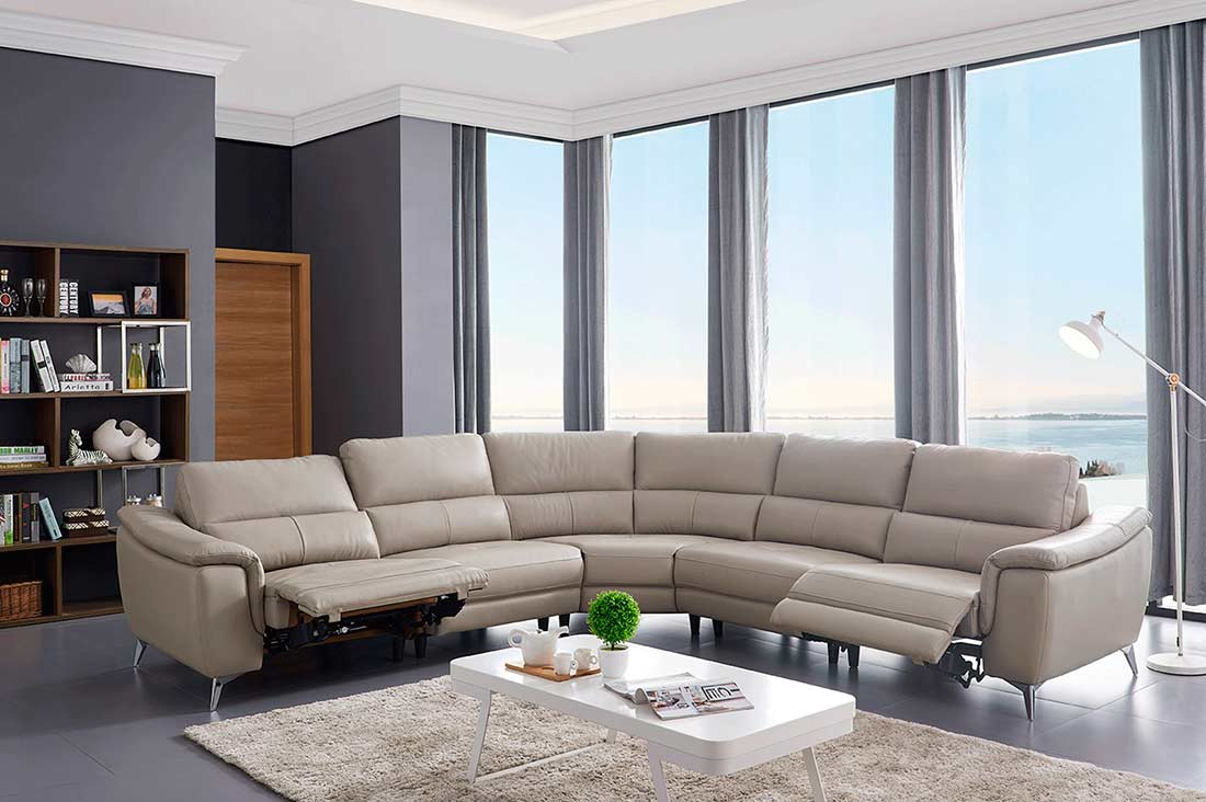 Electric Recliner Sectional Sofa Ef 51 | Leather Sectionals Regarding Sectional Sofas With Oversized Ottoman (View 15 of 15)